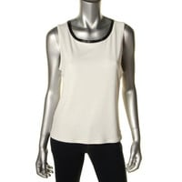 Calvin Klein Womens Matte Jersey Faux Trim Casual Top