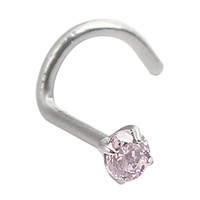 Ruifan 20G Surgical Steel Pink 3mm (0.01 ct. tw) Diamond Cubic Zirconia Crystal Nose Twist Screw Ring Piercing Jewelry
