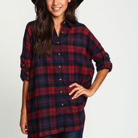 Burgundy Boyfriend Flannel Pocket Shirt