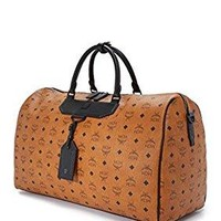 Men's Dieter Monogram Nylon Duffel Bag Weekender Bag Cognac