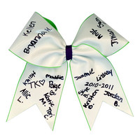 Cheerleading Autograph Hair Bow 3 inch With Your Choice of Base Ribbon