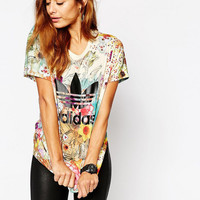 Adidas Originals Women Fashion Flowers Print T-shirt