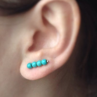 Turquoise Ear Pin Earrings, Boho Stud Earrings, Sterling Silver Ear Cuff, Boho Ear Pin Earrings, Bohemian Jewelry