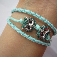 Bracelet, Cute Diamond Teal Night Owls Bracelet, Mint Green Braids, Cords, Bridesmaids Jewelries, Personalized Friendship Graduation Gifts