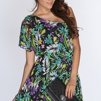 Purple Floral One Shoulder Flutter Sleeve Floral Mix Print Sexy Dress @ Amiclubwear sexy dresses,sexy dress,prom dress,summer dress,spring dress,prom gowns,teens dresses,sexy party wear,women's cocktail dresses,ball dresses,sun dresses,trendy dresses,swea