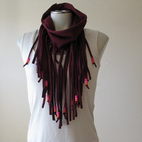 Maroon Jersey Fringe T Shirt Scarf with beads, bohemian infinity scarf