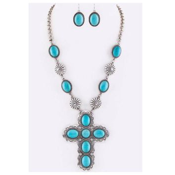 Sale! Iconic Turquoise Stone Cross and Concho Necklace Set