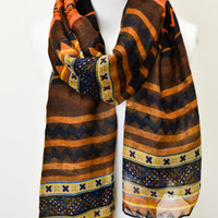 Striped Aztec Print Scarf: Rust [KSF-2070] - $10.49 : Spotted Moth, Chic and sweet clothing and accessories for women
