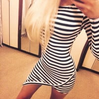 Black and White Stripes Long Sleeves Asymmetric Mini Dress