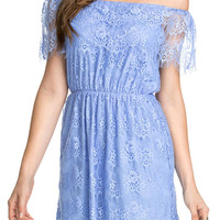 Blue Off-Shoulder Embroidered Lace Overlay Mini Dress