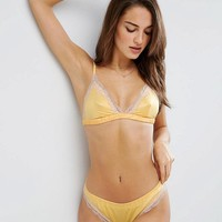 ASOS Skye Satin & Lace Triangle Set in Vintage Yellow at asos.com