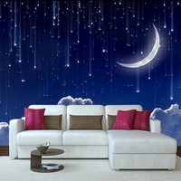 Custom 3D Photo Wallpaper Murals 3D Fantasy Sky Moon Clouds Space Night for TV Bedroom Kids Room Background Wall Decor Wallpaper