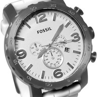 Fossil JR1427 Classic Sport White Silicone Bracelet Mens Watch
