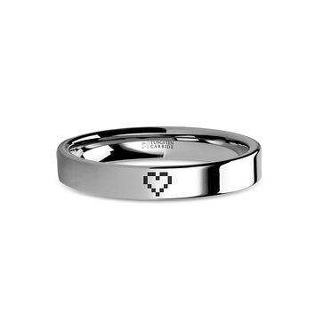Pixel 8-bit Heart Retro Video Game Engraved Tungsten Wedding Band