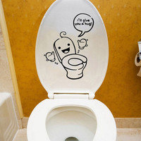 Waterproof Sided Visual Toilet Seat Sticker Bathroom Decoration Decals Decor Art = 1705987588