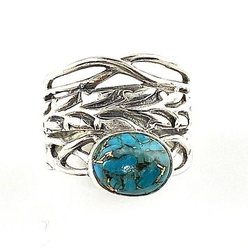 Blue Copper Turquoise Sterling Silver Twisted Vine Ring