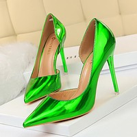 Metallic high heels stiletto high heels shallow mouth pointed side concave and convex sexy nightclub women's shoes women's shoes green