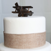 Old-fashied Wood Toy Plane Cake Topper