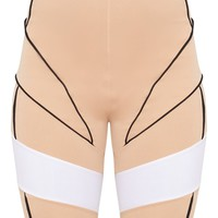 Stone Super High Waisted Contrast Binding Cycle Short