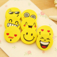 4 PCS Cute Smile Style Rubber Pencil Eraser Office Stationery Gift CB AU B2