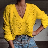 Explosion models casual solid color hollow V-neck sweater sweater women