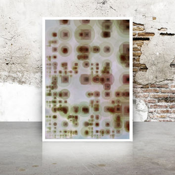 Abstract Generative Art Dividing Bubbles and Boxes growthBoxes_9t, Limited Edition Giclee 8x10, geeky wall art. Grey, Taupe, Brown