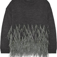 Elizabeth and James - Feather-trimmed cotton-blend sweater