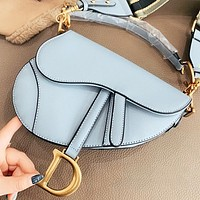 Dior New fashion solid color leather shoulder bag women crossbody bag saddle bag handbag Blue