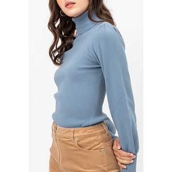Ribbed Turtleneck Puff Sleeve Sweater
