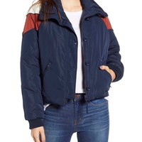 Free People - Chevron Heidi Ski Puffer Jacket - Navy