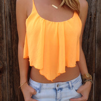 Chiffon Pointed Crop Top - FINAL SALE