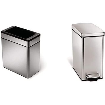 Profile Open Trash Can, Brushed Stainless Steel