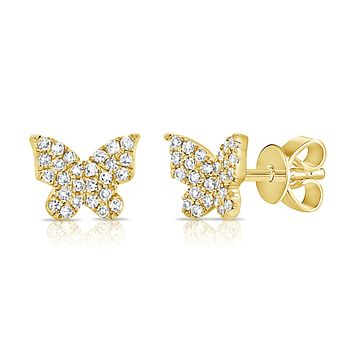 Small Pave Diamond Butterfly Post Earring