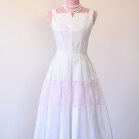 1950s Dress / VINTAGE / White / Cotton Candy / Organza / Pink / Embroidered / Scoop Back