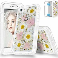 """SEYMAC Flower Case for iPhone 8,iPhone 7, iPhone 6, Full Body Protection Bumper Rugged Non-Slip Shockproof Protective Clear Case with Dried Real Flower for 4.7"""" iPhone 6/6s/7/8(Pink)"""