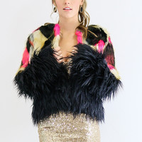 The Knock Out Shaggy Faux Fur Cropped Coat