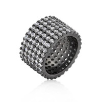 Hematite Wide Pave Cubic Zirconia Ring, size : 09