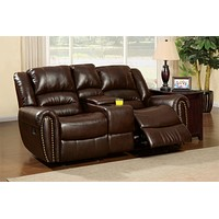 Damien Transitional Bonded Leather Loveseat Recliner with Center Console, Dark Brown