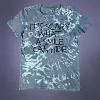 Sad Girl Depressed Shirt It's Scary What A Smile Can Hide Slogan Tee Grunge Emo Punk Alternative Clothing Tumblr T-shirt