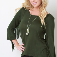 Soft Knit Fringe Arm Top