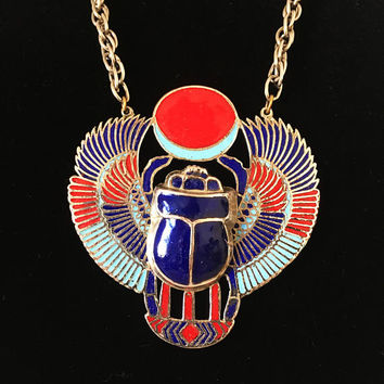 Egyptian Revival Winged Scarab Solar Disk Pendant Necklace, Vintage 1970s Statement Jewelry