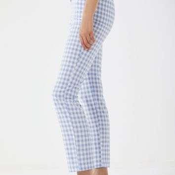 Lioness High-Rise Gingham Trousers   Urban Outfitters