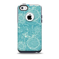 The Intricate Teal Floral Pattern Skin for the iPhone 5c OtterBox Commuter Case