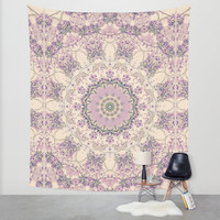 47 Wisteria Circle - Vintage Cream and Lavender Purple Mandala Wall Tapestry by V. Sanderson / Chickens In The Trees
