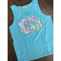 Lilly Pulitzer Fabric Raggy Monogrammed Comfort Colors Tank Top