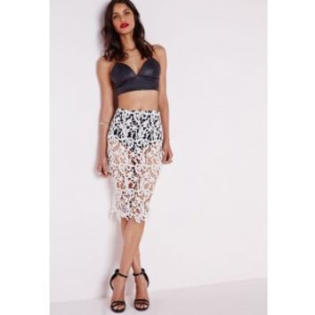 Lace Midi Skirt With Knicker Lining White - Skirts - Missguided