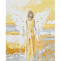 """""""Your Guiding Light"""" CANVAS PRINT Abstract Angel Painting Guardian Angel Art Gold Leaf White Grey"""