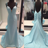 Straps Open Back Prom Dresses