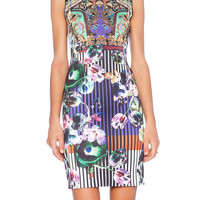 Sleeveless Floral Tapestry Print Dress in Multicolor