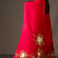 Native American Dance Shawls, Fancy Scarlet Red Embroidered Shawl with Fringe